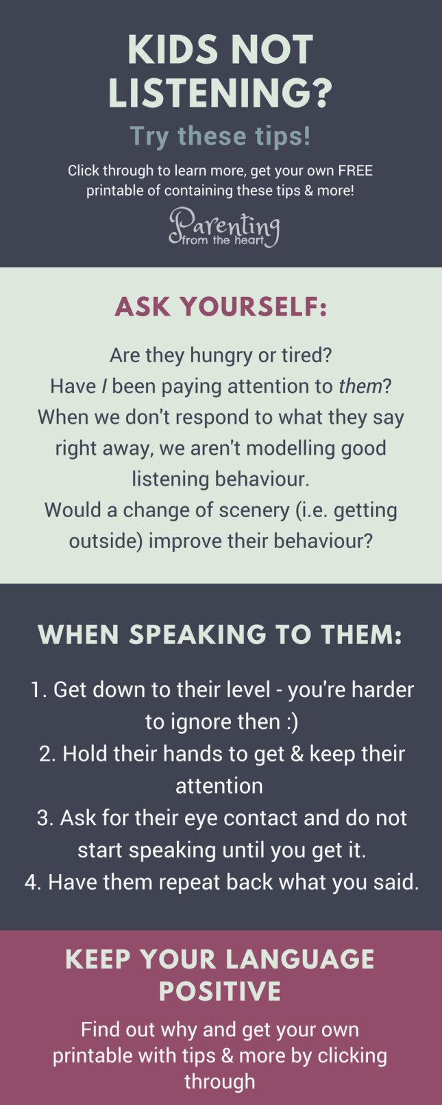 Kids not listening? Your kids will listen if you use these powerful strategies. Great positive parenting strategies for parents with young kids, toddlers, and preschoolers.
