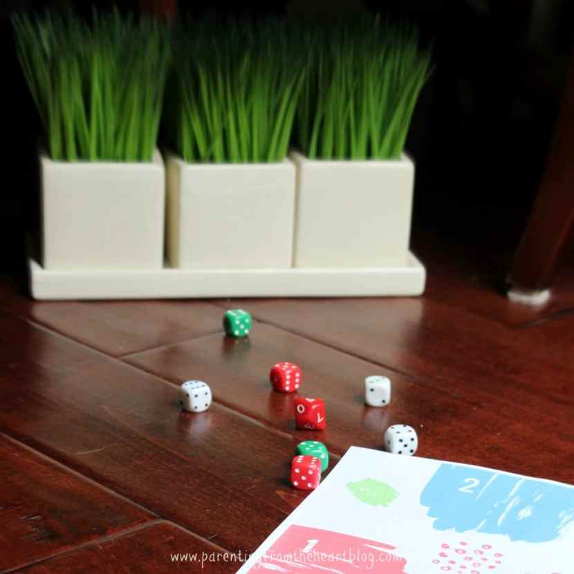 These dice games are excellent and helpful play based learning strategies to teach numeracy (early math). Preschoolers will learn number recognition, greater than and less than, number sequencing and more!