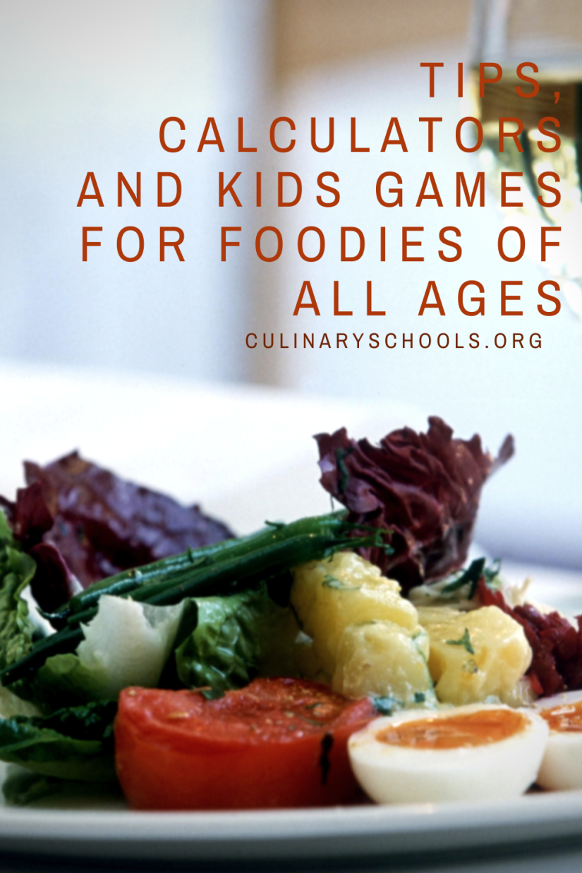 Tips, Calculators and Kids Games for Foodies of All Ages at Culinary Schools