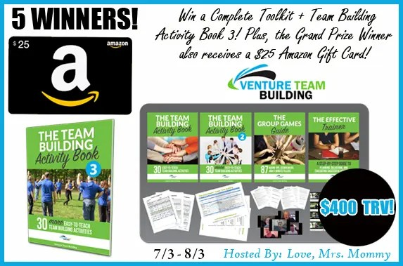5 Winners! Venture Team Building Prize Pack + Amazon Gift Card! $400 TRV Giveaway!