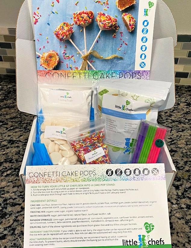 Little GF Chefs gluten free, allergy friendly baking kits - Confetti Cake Pops