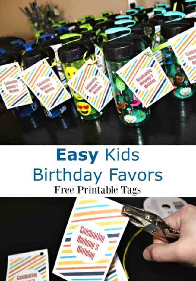 Easy Kids Birthday Favors - Free Printable Tags