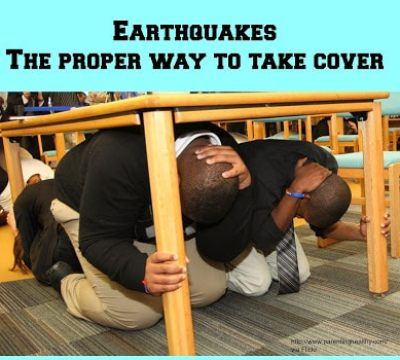 Tips for children to take cover in an earthquake
