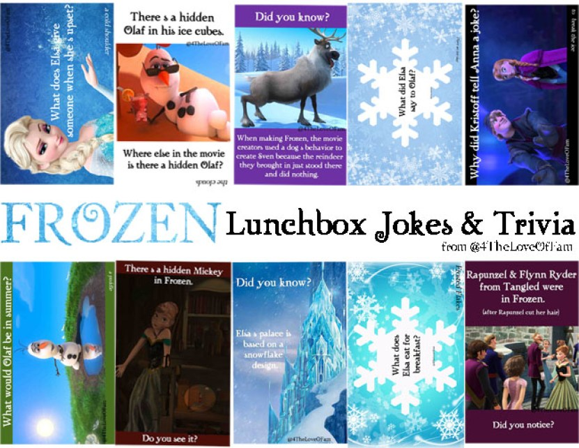 @4TheLoveOfFam #FROZEN Lunchbox Jokes & Trivia FREE Printable #FrozenFunFrid ay