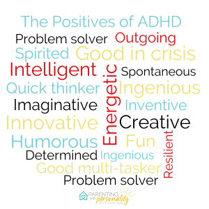 The Positives of ADHD word cloud