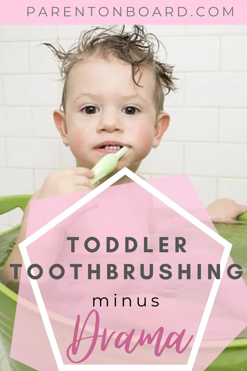 Pin Image of Toddler Brushing Teeth in a small Tub