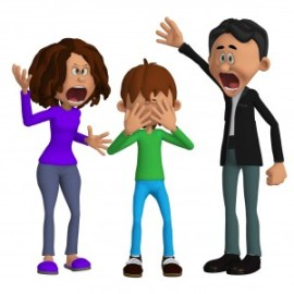 Parents angry with a child