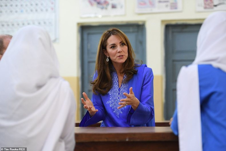 Their Royal Highnesses are meeting with pupils from kindergarten to sixth form at the school in Pakistan today