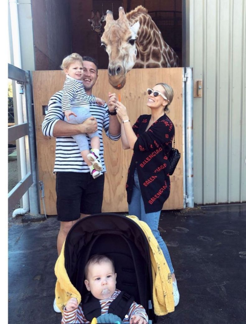 Phoebe and Sam Burgess and children at the zoo