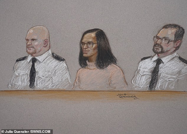 Sinaga (centre) is pictured in a sketch of him appearing at Manchester Crown Court today