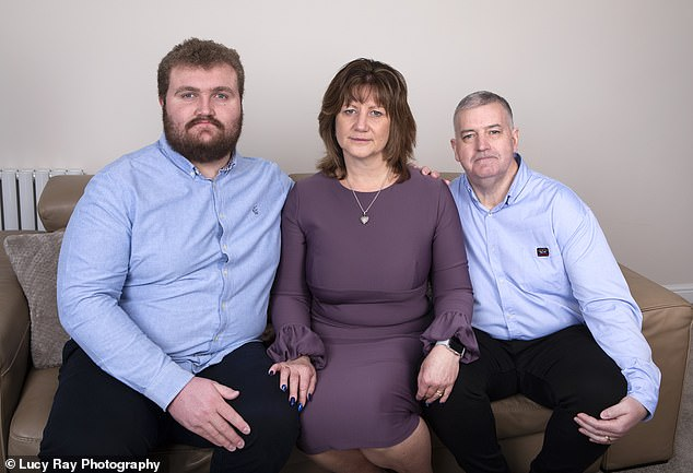 Joss's parents Graeme and Tiffany with brother Leo. Graeme wrote a handwritten letter to Lewis Moody asking to cheer up Joss
