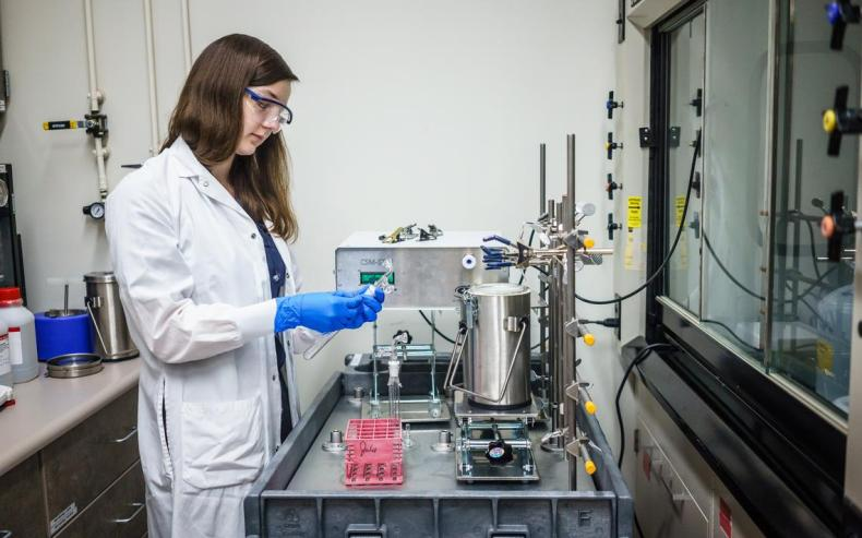 Alexandra Ward, a researcher with the Nicotine Dependence Center, at Mayo Clinic's Inhaled Particle Aerosol Lab. Joe Ahlquist / Forum News Service