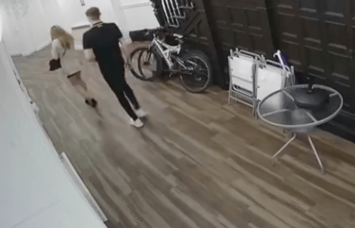 CCTV shows Megan Newton bringing Joseph Trevor home after offering him a place to sleep (SWNS)