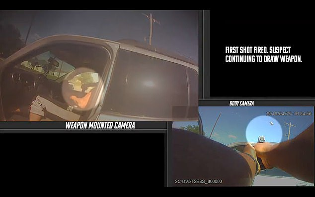 The officer's Viridian-brand weapon-mounted camera caught Orellana reaching for a sawed -off shotgun (left). The screenshot on the right shows Session's body camera video