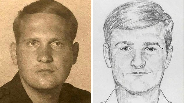 At the time, his only known run-in with police occurred in 1979, when he was fired as an officer of the Auburn Police Department (seen left in uniform) for shoplifting from a Citrus Heights Drug Store. A composite sketch of the suspect draws a remarkable resemblance to DeAngelo at the time