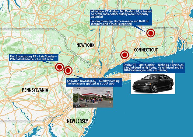 Connecticut state police and the FBI have been desperately searching for Manfredonia across three states: Pe