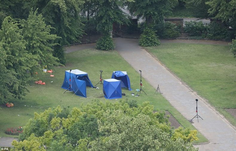 Police tents in Forbury Gardens in Reading town centre at the scene of a multiple stabbing attack which took place at around 7pm on Saturday