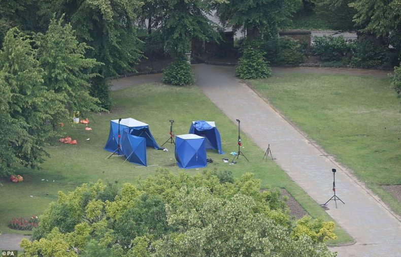 Aftermath: Police tents at the scene of the attack at Forbury Gardens in Reading (pictured) yesterday. Officers arrested the knifeman around five minutes after the first 999 calls made at 6.56pm