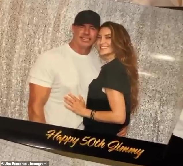 The big 5-0: Jim Edmonds' new ladylove Kortnie O'Connor threw her man a 50th birthday pool party at their home in Southern California on Saturday