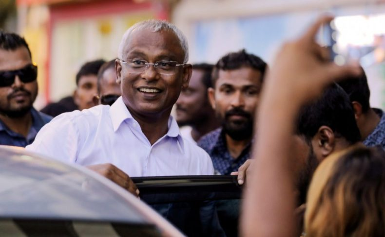 Maldivian president-elect Ibrahim Mohamed Solih arrives at an event with supporters in Male, Maldives September 24, 2018. Credit: Reuters/Ashwa Faheem/File Photo