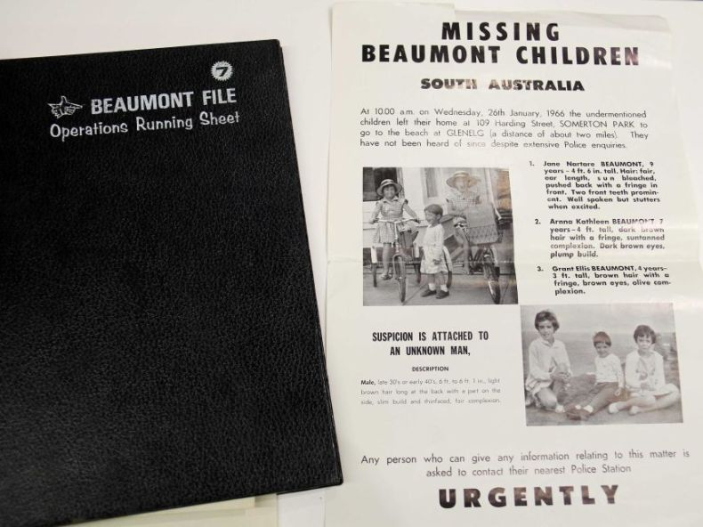 The police running sheet and poster relating to the missing Beaumont children.