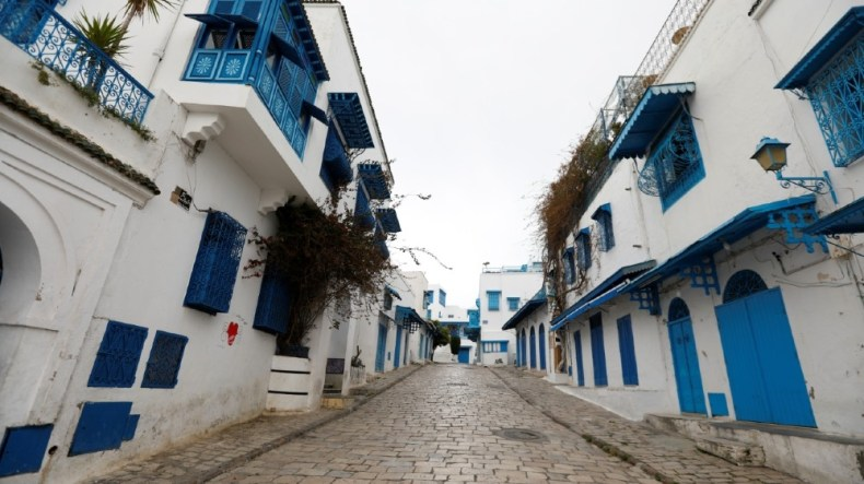 A general view shows a empty street in Sidi Bou Said, an attractive tourist destination, as the country extended the lockdown by two weeks to contain the spread of the coronavirus