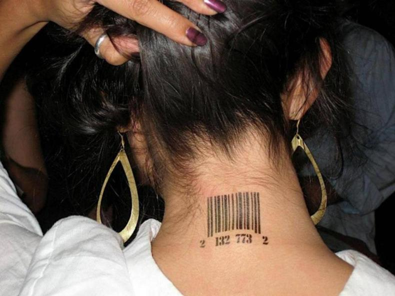 An example of a bar code tattoo common among sex trafficking victims.
