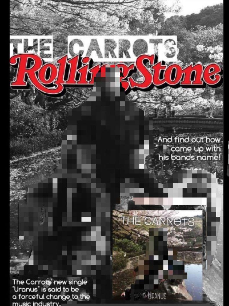 A screenshot of a doctored magazine cover displaying a fake band 'the Carrots'.