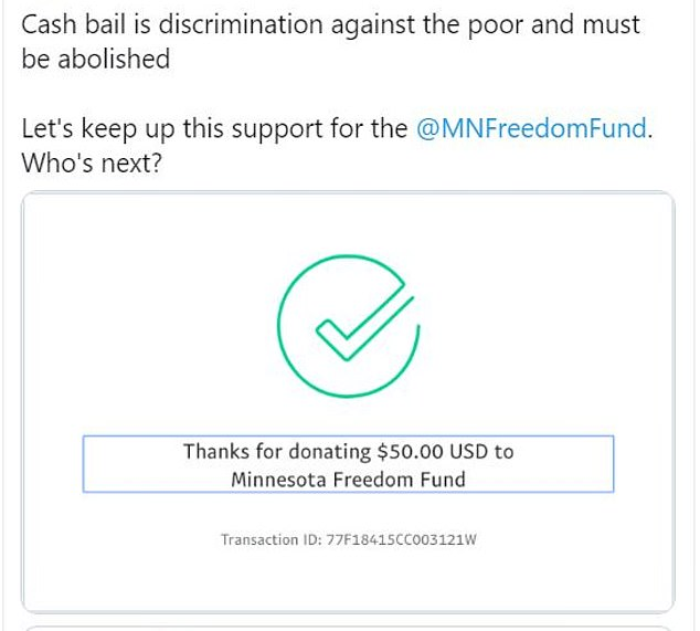 Biden staffer: 'Cash bail is discrimination against the poor and must be abolished Let's keep up this support for the [MFF]. Who's next?'