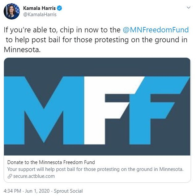 Kamala Harris on June 1 shared a tweet that asked people to donate to the Minnesota Freedom Fund amid demonstrations over the death of George Floyd