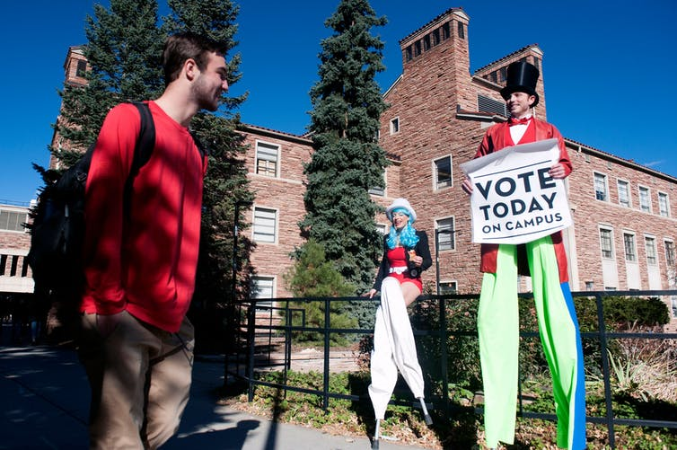 Encouraging students at the University of Colorado, Boulder, to vote in the midterm elections, Nov. 6, 2018.