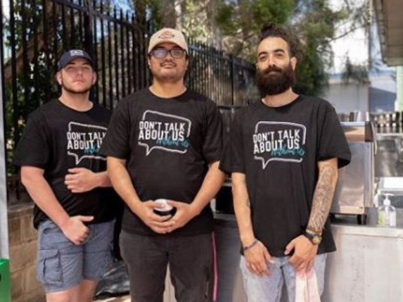"BYSA mentors Lui Savea (centre) and Nickolas Koutsoudakis (right), who leads the ""Don't talk about us, without us"" campaign to ensure young people's voices inform policy decisions made about their lives and communities. Picture: BYSA/Instagram"
