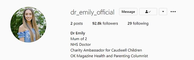 Docor in the house: The wife of Peter Andre wrote in her first post that she wanted to share 'health, medical and parenting chat,' with her followers, whose numbers soon grew to over 92k