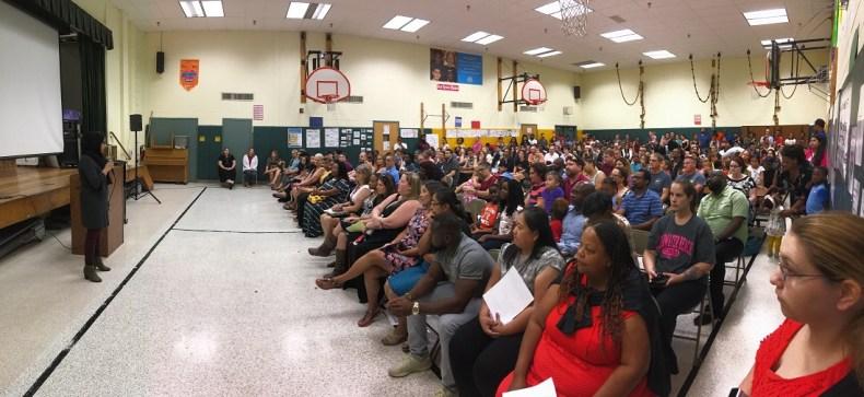 Prince George's County Board of Education member Raaheela Ahmed addressing parents and teachers at the Whitehall Elementary in Bowie, MD, recently.