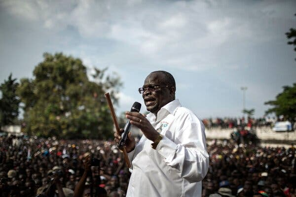 Guy-Brice Parfait Kolélas addressing his supporters in Brazzaville, Republic of Congo, in 2016.