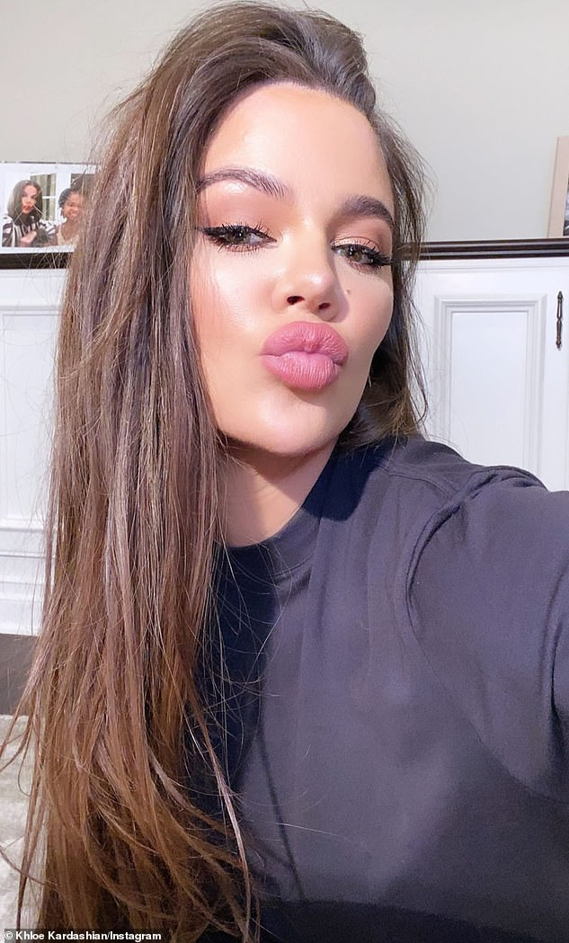 Transformation: Khloé looked unrecognizable in a pre-Zoom primping video she Instastoried last week
