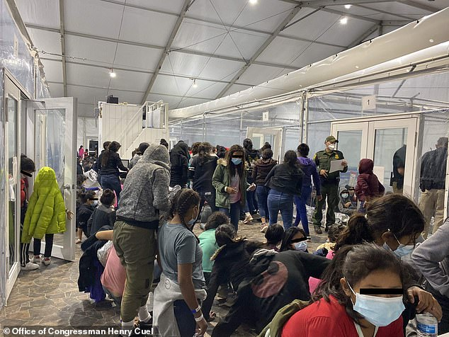 Some 350 migrant girls between the ages of 13 and 17 were flown to San Diego after they were temporarily held at a Customs and Border Protection facility in Donna, Texas. The image above shows migrant children inside the facility on March 22