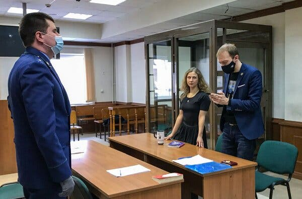 Maria Alyokhina, center, a member of Pussy Riot, at a hearing at the Moscow City Court in February.