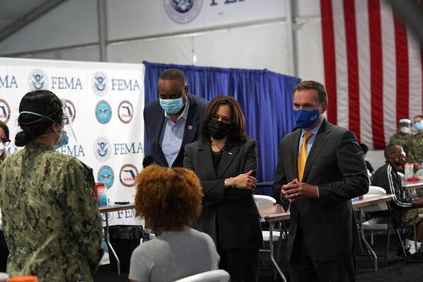 Vice Presiden Kamala Harris at Jacksonville Community Service Center where vaccines being prepared for distribution by the members of the US Navy.
