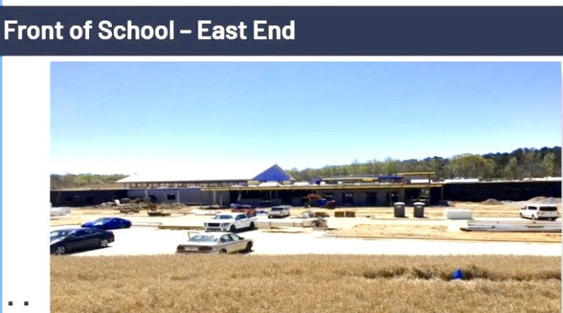 <b>Front view of new Booth Middle School under construction. Photo/Fayette County School System.</b>