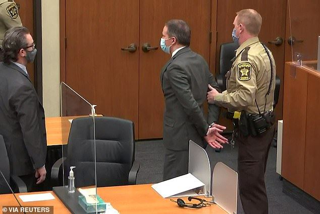 Derek Chauvin was handcuffed and led away on Tuesday to be held in jail before sentencing
