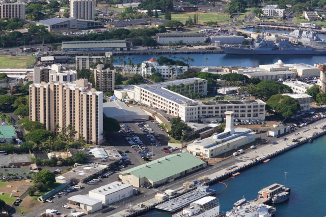 Joint Base Pearl Harbor Hickam Housing on the Pearl Harbor side with condominiums at left of photograph.