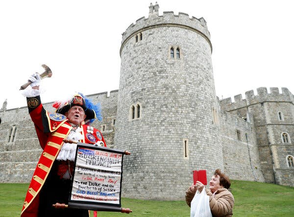 Outside Windsor Castle, an unofficial town crier with a hand-lettered proclamation announced the birth of a baby boy to Prince Harry and Meghan Markle in 2019.