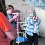 Columbus East student Quentin Anderson, left, follows along as Columbus East special education teacher Peggy Myers plays an improv game during class at Columbus East High School in Columbus, Ind., Tuesday, May 25, 2021. Myers was recently named as the recipient of the 2021 Edna V. Folger Outstanding Teacher Award. Mike Wolanin   The Republic