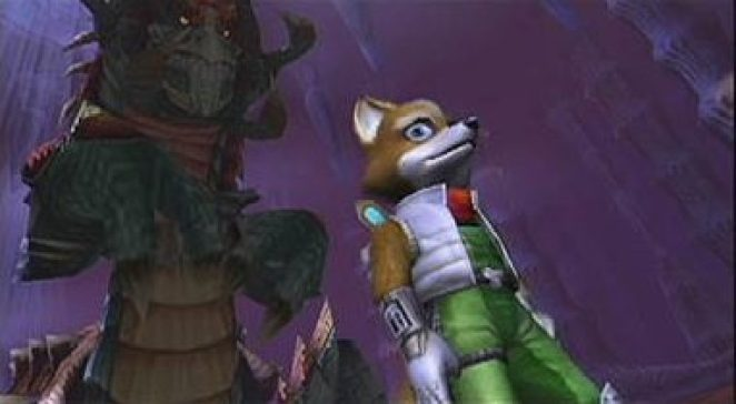 Fox McCloud looks nervous as General Claw towers behind him
