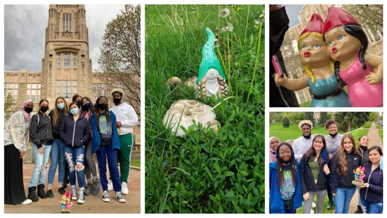 high school students with gnomes