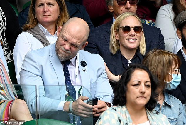 Zara could be seen placing a reassuring hand on husband Mike's shoulder who appeared to be disappointed with a result in the match