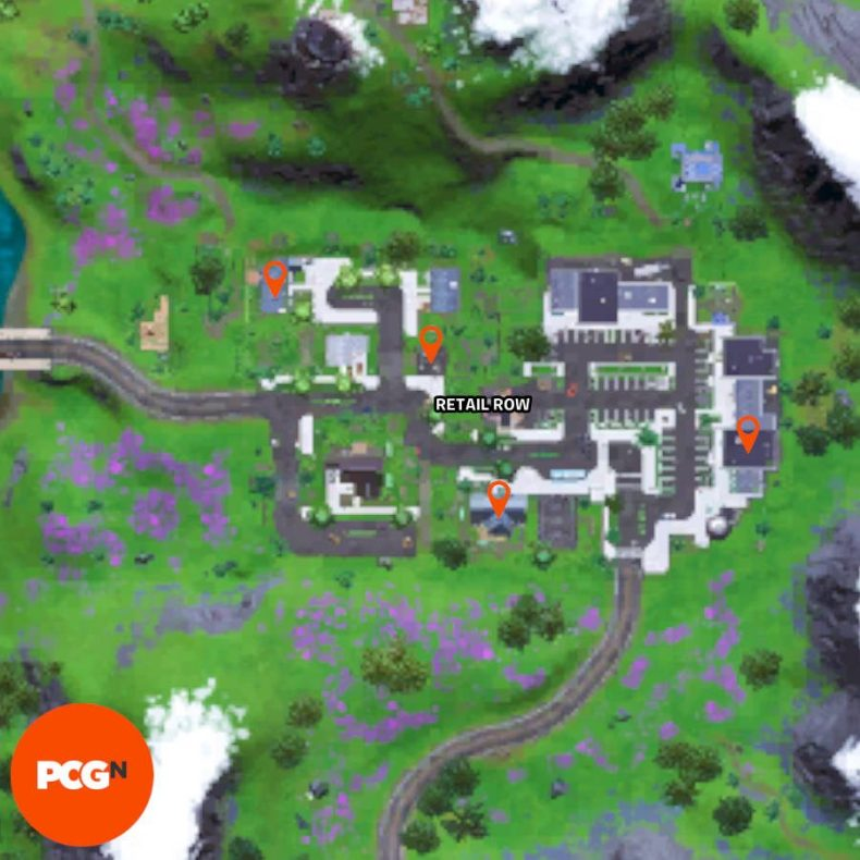 All four Fortnite parenting books locations in Retail Row, pinned on the map.