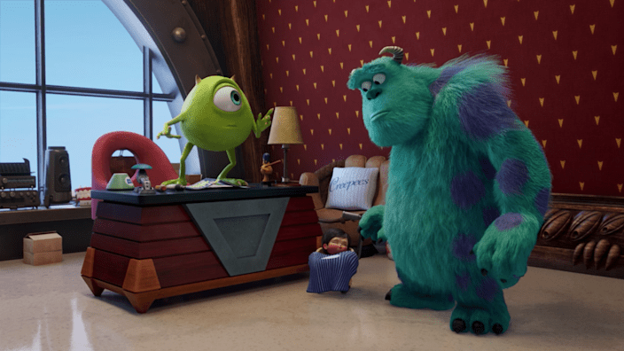 Mike and Sulley are leaders in the Monsters, Inc., offices.