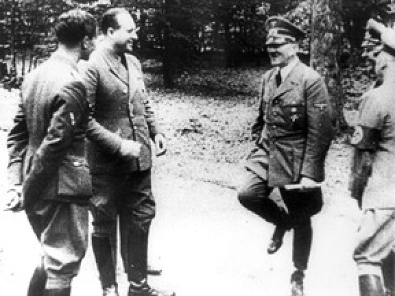 Bigger worries. Adolf Hitler, right, at Compiegne in 1940 after dictating terms to France for their surrender, in Compiegne, north of Paris. With the world at war, even the most heinous domestic murders faded to the back pages. (AP Photo)